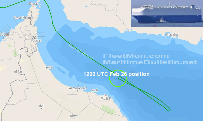 Israeli cargo ship hit by mysterious explosion in Gulf of Oman